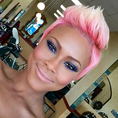 Pink Blonde Pixie Hair Cut