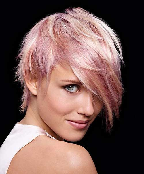 Pink Long Pixie Cut
