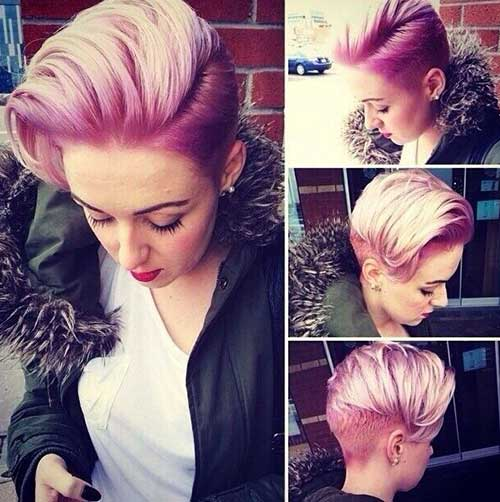 Pink Long Slicked Pixie Cut
