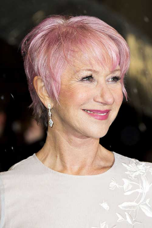 Pink Pixie Hair Cut Older Women