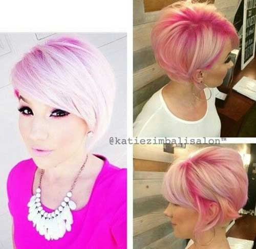 Pink Blonde Pixie Haircut