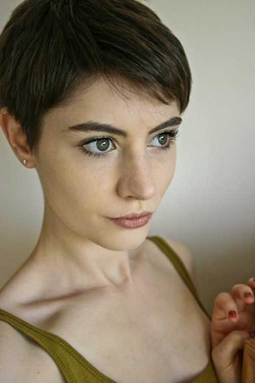 Pixie Crop Dark Brown Hair