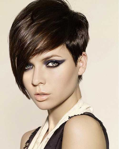 Long Pixie Cut Brown Hair
