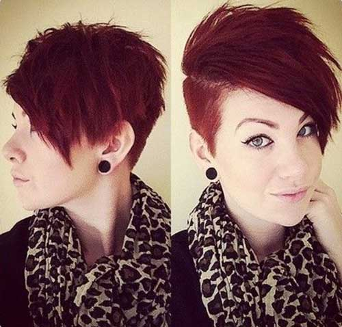 Red Pixie Side Shaved Hair Cut