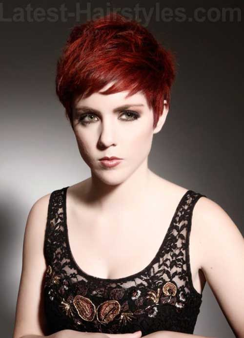 Red Short Pixie Cut Style