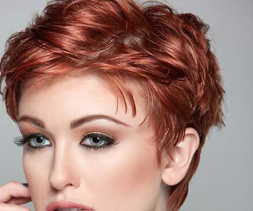 Red Thick Pixie Cut