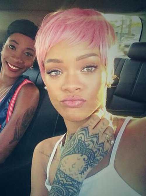 Rihanna Pink Pixie Cut