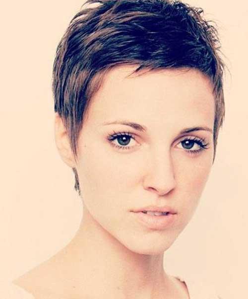 Super Short Pixie Brown Hair Cuts