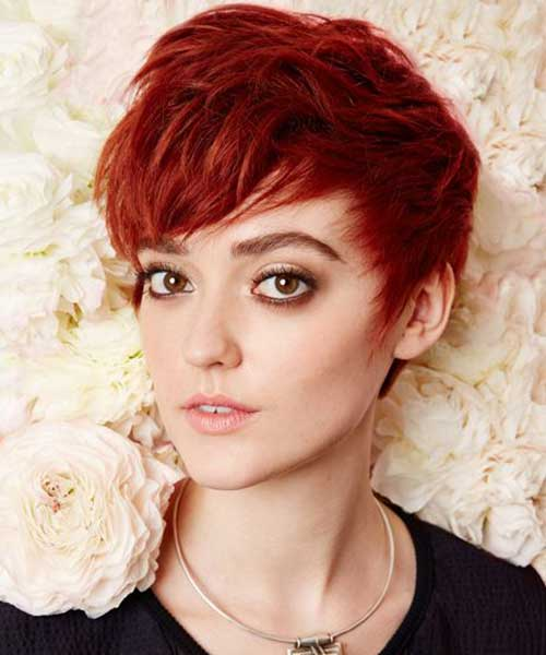 Trendy Red Pixie Cut Style