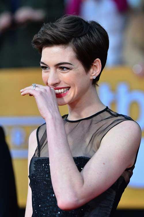 Anne Hathaway Brunette Pixie Styles