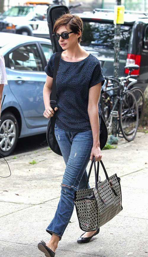 Anne Hathaway Casual Pixie Cut Styles