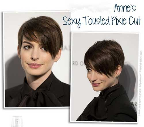 Anne Hathaway Pixie with Long Bangs Styles