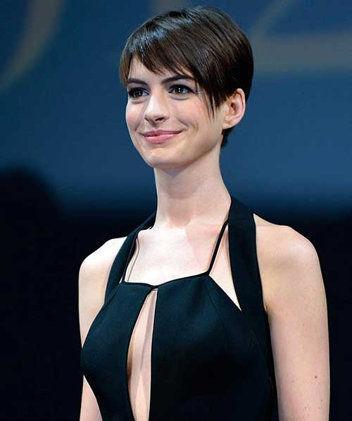 Anne Hathaway Straight Style Pixie Hair