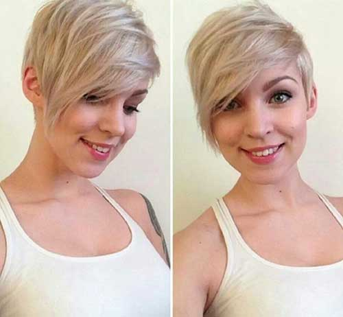 Asymmetrical Blonde Pixie Cut