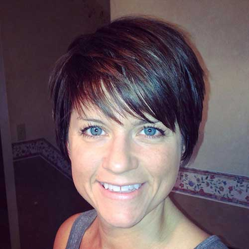 Brunette Layered Pixie Cuts