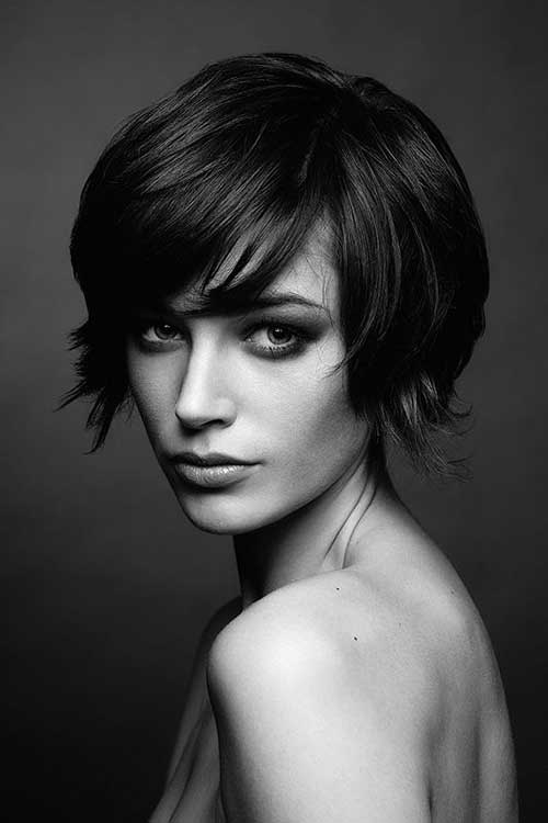 Brunette Long Pixie Hairstyles