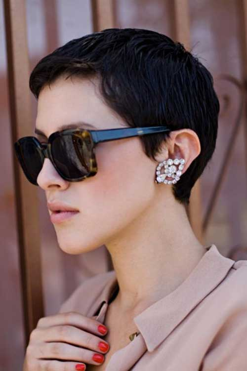 Brunette Super Short Pixie Cut