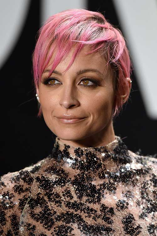 Celebrity Pastel Pink Pixie Cuts