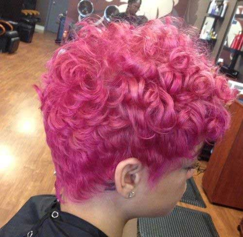 Curly Pink Pixie Haircut