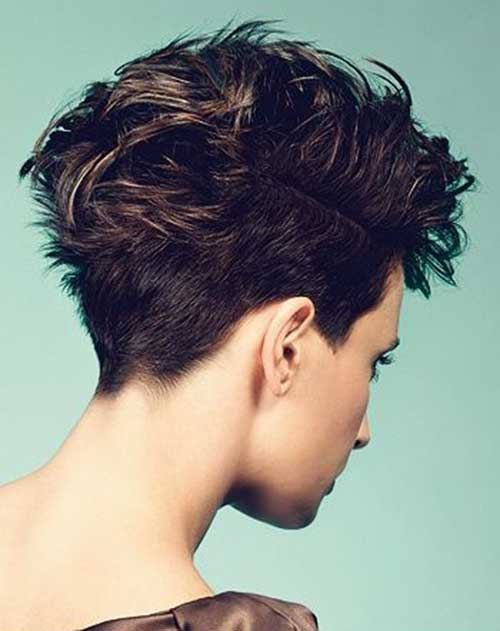 Dark Brown Messy Pixie Mohawk Hair