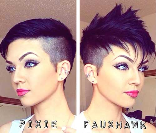 Faux Hawk Shaved Sides Pixie Cut