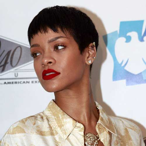 Rihanna Fine Hair Pixie Cut
