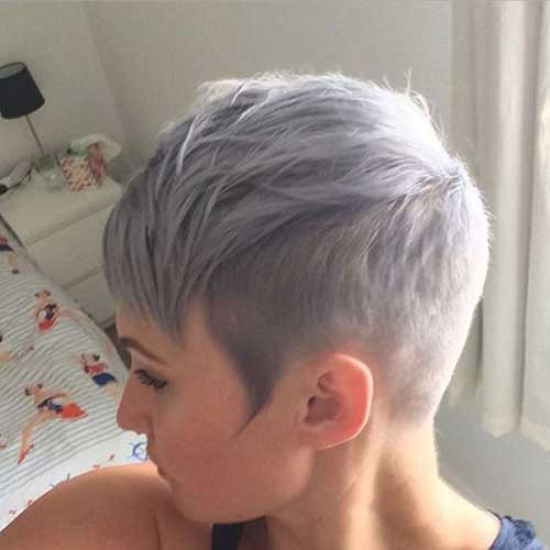 Grey Hair Shaved Sides Pixie Cut