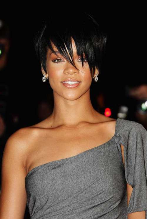Rihanna Long Pixie Hair Cut