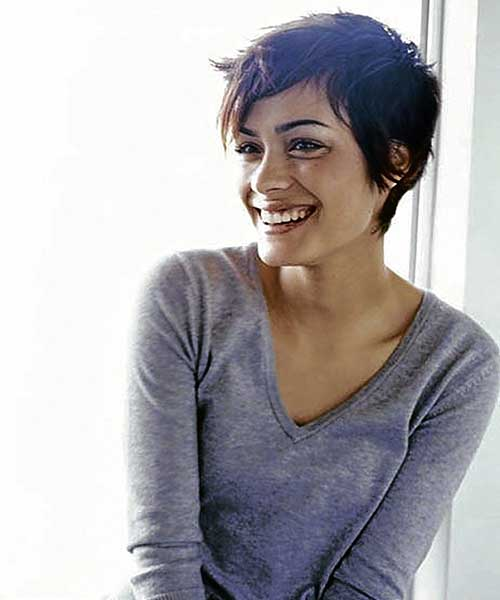Messy Brunette Pixie Cut