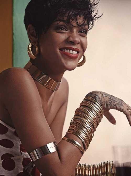 Rihanna Messy Pixie Hair Cut