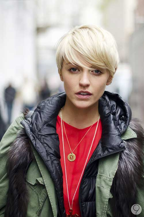 Platinum Blonde Pixie Cropped Hair