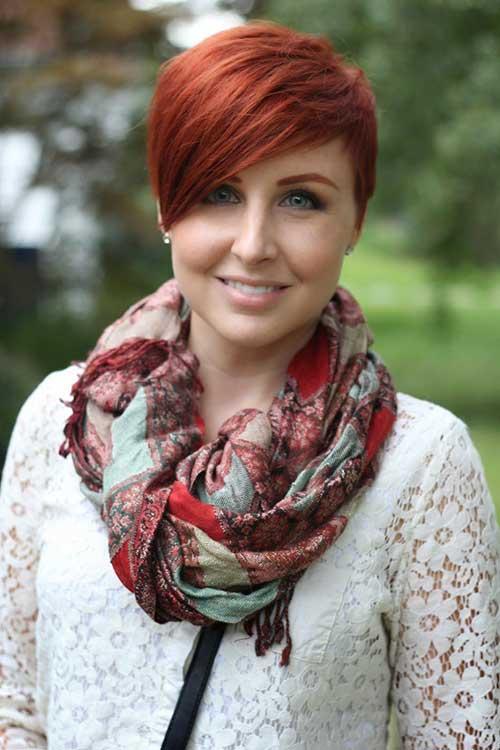 Red Asymmetrical Pixie Haircut