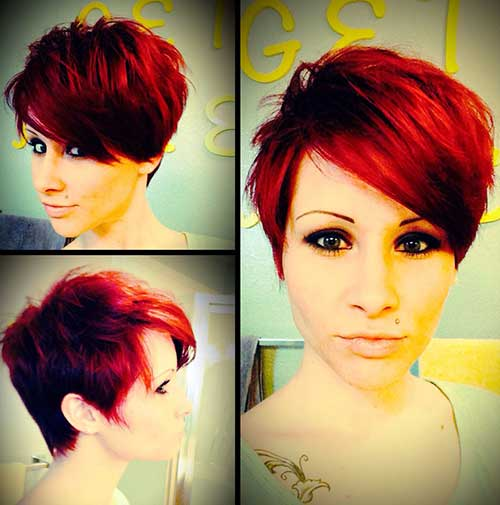Red Pixie Cut for Long Face