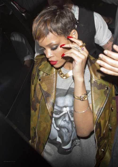 Rihanna Dark Pixie Haircut Hair