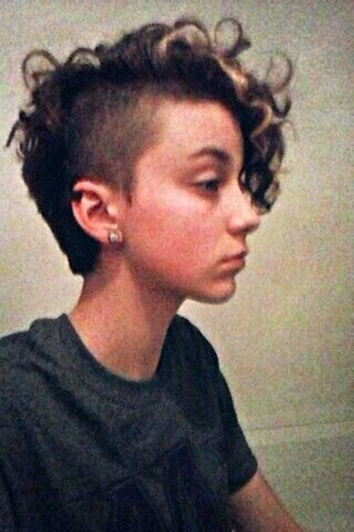 Shaved Curly Hair Pixie Cuts