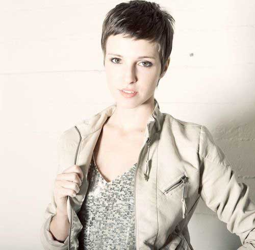 Very Short Brunette Pixie Cut