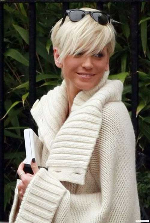 Cool Platinum Long Pixie Hair Cut 2015