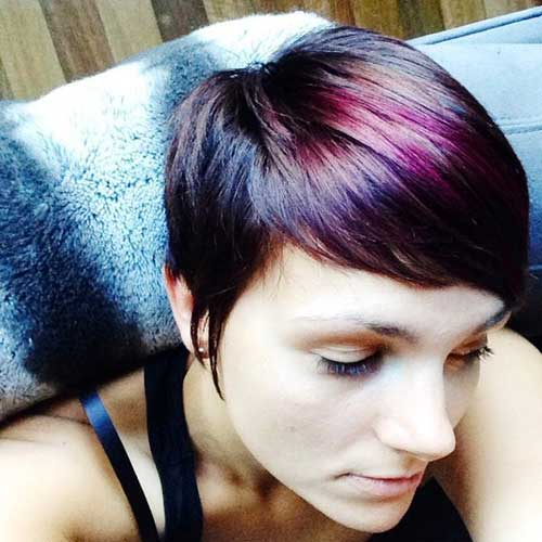 Dark and Red Lighted Pixie Cut Hair Colors