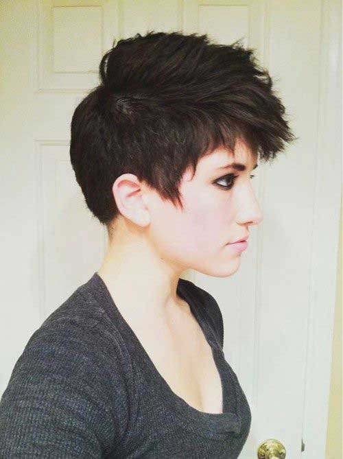 Faux Hawk Style Brown Pixie Hair