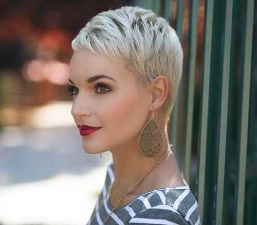 Platinum Blonde Pixie Short Hair