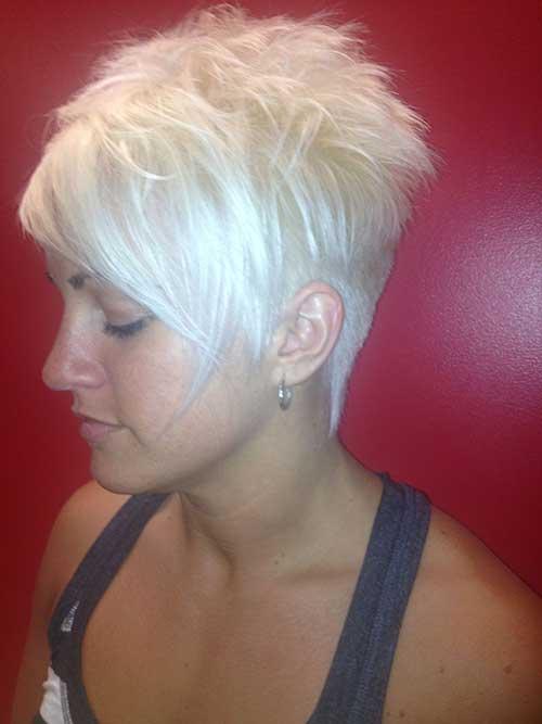 Blonde Asymmetrical Pixie Hair Cut