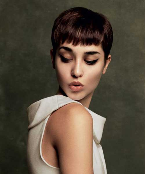 Brunette Chic Pixie Haircut