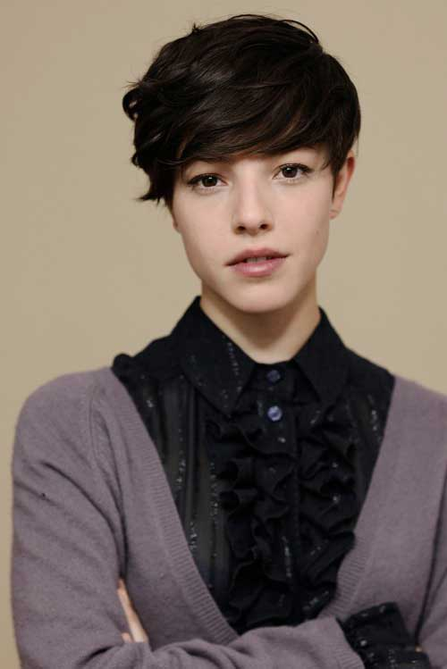 Brunette Long Pixie Haircuts