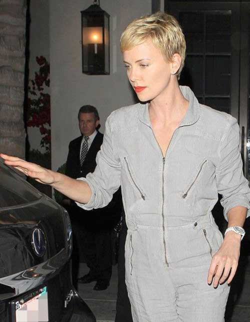 Charlize Theron Blonde Cropped Pixie Hair