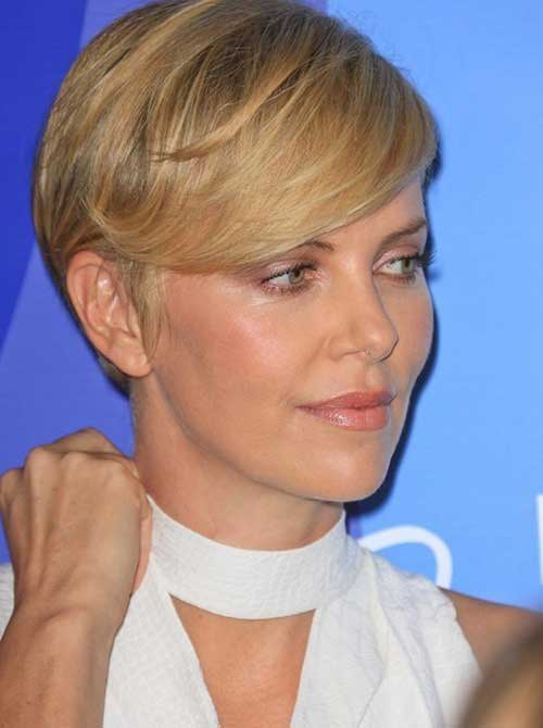 Charlize Theron Cute Long Pixie Hair Cuts