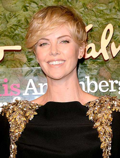 Charlize Theron Wavy Asymmetrical Pixie Hair