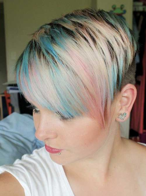 Colored Razor Pixie Cut