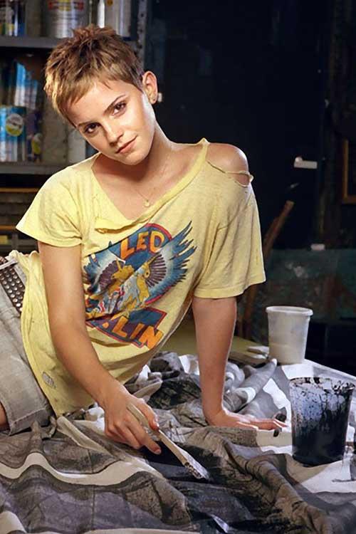 Emma Watson Stylish Pixie Cut Hair Pics