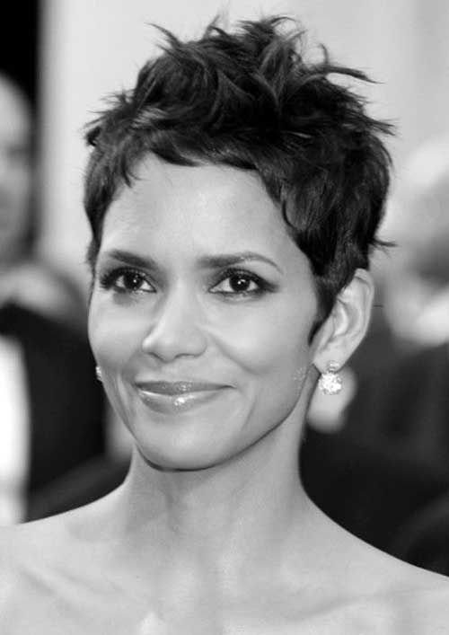 Halle Berry Short Wavy Pixie Haircuts