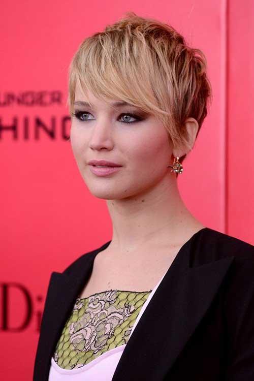 Jennifer Lawrence Layered Long Pixie Hair